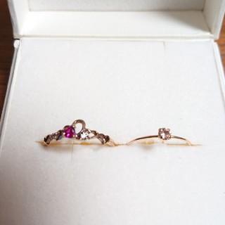 ブルーム(BLOOM)の♦️タイムセール♦BLOOMルビー&CZハートの指輪、ピンクゴールドの指輪(リング(指輪))