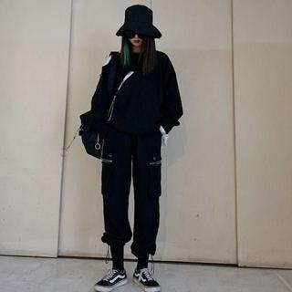 ストリート ダンス衣装 ヒップホップ カーゴパンツ 無地 ブラック L(ワークパンツ/カーゴパンツ)
