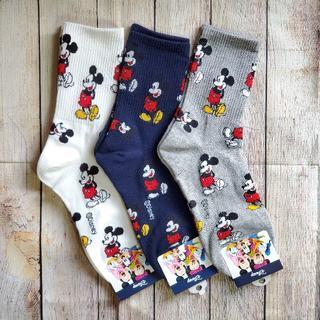 ミッキーマウス - 【送料込み】人気だよ♪ミッキークルーソックス3色セット♡
