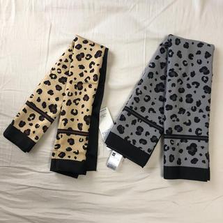 ジーユー(GU)の新品未使用 GUレオパードプリントスカーフ ヒョウ柄 2枚セット(バンダナ/スカーフ)