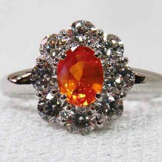美しい!天然オレンジサファイアPT指輪☆ヴィヴィッドな美色☆逸品リング!!(リング(指輪))
