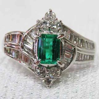 鮮やかなグリーンの天然エメラルドPTリング☆透明感ありきれいな指輪♪♪(リング(指輪))