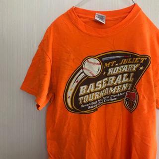 ギルタン(GILDAN)のアメリカ古着! Tシャツ S GILDAN オレンジ 野球 Baseball (Tシャツ(半袖/袖なし))