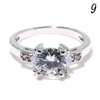 C4 リング 9号 CZ ダイヤモンド シンプル レディース(リング(指輪))