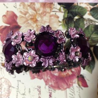 紫 ビジュー ブレスレット バングル(ブレスレット/バングル)