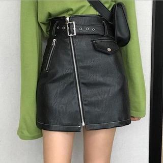 【L//ブラック】レザースカート ミニスカート スカート ジッパー ロック(ミニスカート)