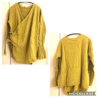 870 新品 春 綿 麻 リネン カーディガン カシュクール ゆったり 黄色(カーディガン)