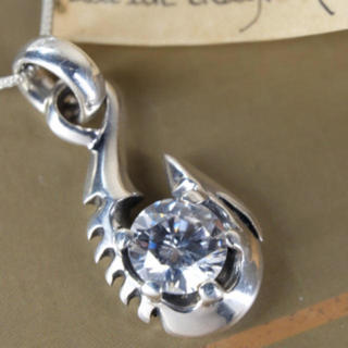 シルバー925 ジルコニア フィッシュ フック 釣り針(ネックレス)