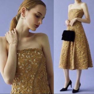 ラグナムーン(LagunaMoon)のUSED ラグナムーン ケミカルレース  ベアドレス キャメル M(その他ドレス)