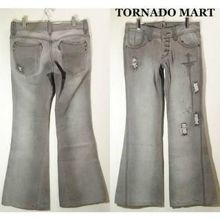 トルネードマート(TORNADO MART)のトルネードマート ベルボトム W82cm クラッシュデニム グレー ブーツカット(デニム/ジーンズ)