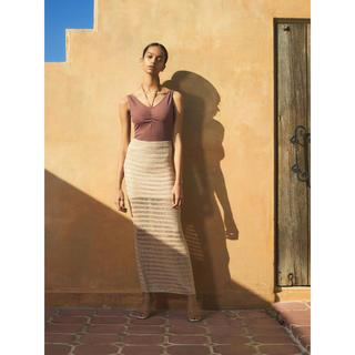 ロザリームーン(Rosary moon)のRosarymoon Shear Knit Skirt ニット スカート(ロングスカート)