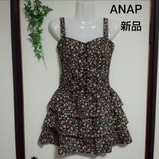 アナップ(ANAP)の【新品タグ付き】ANAP  黒花柄ワンピース(ミニワンピース)