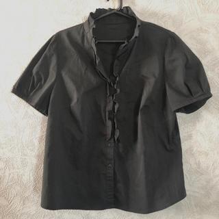 RU - ru 半袖フリルブラウス ブラック