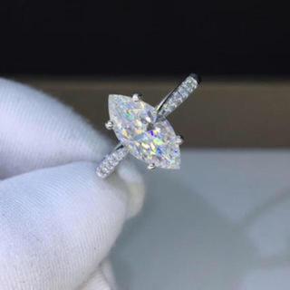 【1.5カラット】輝くマーキス カット モアサナイト ダイヤモンド リング(リング(指輪))