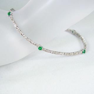 K18WG エメラルドダイヤモンド ブレスレット[g146-12] (ブレスレット/バングル)