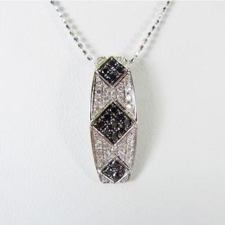 K18WG ブラック、無色ダイヤモンド ペンダント[g146-14] (ネックレス)