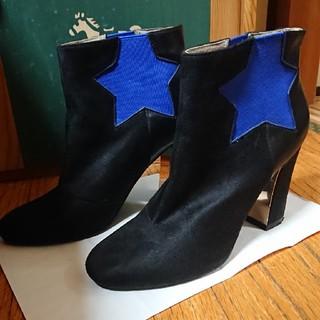ヌォーボ(Nuovo)のショートブーツ NUOVO ブラック ブルー 星 スエード ノォーボ(ブーツ)