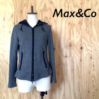 マックスアンドコー(Max & Co.)のMAX&Co コットンニット ジップ パーカー ミックスグレー(パーカー)