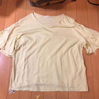 ハニーズ(HONEYS)のレディース Tシャツ L  イエロー フリル Honeys(Tシャツ(半袖/袖なし))