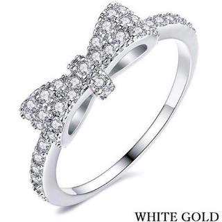 ★定価6280円★【SWAROVSKI】リボン モチーフ クリスタルリング 指輪(リング(指輪))
