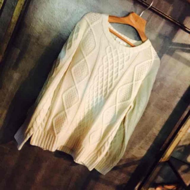 Lサイズ限定5着 アラン柄 ケーブルニット セーター 白 ホワイト メンズのトップス(ニット/セーター)の商品写真