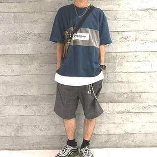 レイジブルー(RAGEBLUE)の送料無料!レイジブルー  パネル切り替えプリントTシャツ グリーン(Tシャツ/カットソー(半袖/袖なし))