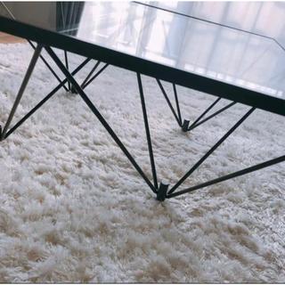 モダン ガラステーブル 【クリアガラス×ブラック】 幅80cm 日本製  新品(ローテーブル)