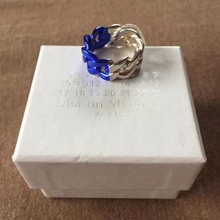 マルタンマルジェラ(Maison Martin Margiela)の19AW新品M メゾンマルジェラ ツートーン チェーンリング シルバー ブルー(リング(指輪))