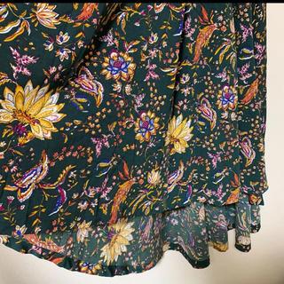サンタモニカ(Santa Monica)のモスグリーン レトロ花柄スカート(ロングスカート)