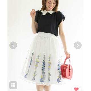 トッコ(tocco)のtocco closet シースルーフラワー刺繍オーガンジースカート ホワイト(ひざ丈スカート)