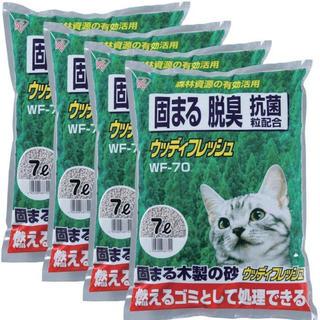 アイリスオーヤマ(アイリスオーヤマ)のアイリスオーヤマ ウッディフレッシュ 7L×4袋 WF-70 ネコ砂 猫トイレ(猫)