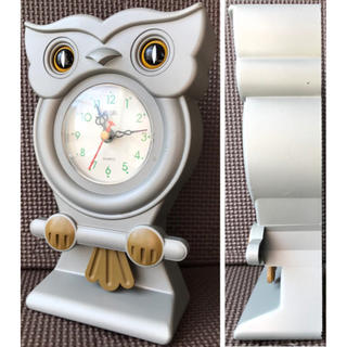 ふくろう 置物 振り子時計 昭和レトロ レトロ時計 インテリア雑貨 アンティーク(置時計)