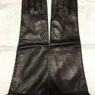 クロエ(Chloe)の美品 クロエ Chloe レザーグローブ 革手袋 ロゴラインストーン(手袋)
