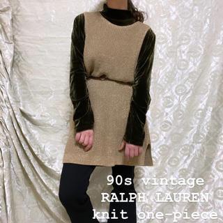ラルフローレン(Ralph Lauren)の90s vintage RALPH LAUREN ニットワンピース ゴールド(ひざ丈ワンピース)