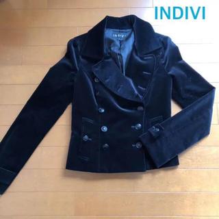 インディヴィ(INDIVI)の美品★ INDIVI ★ インディヴィ ショートコート / ベロア / ブラック(テーラードジャケット)