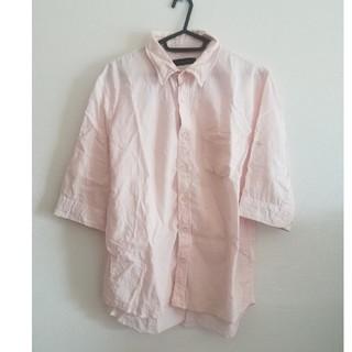 レイジブルー(RAGEBLUE)のRAGEBLUE 薄ピンク 七分袖 麻 シャツ 襟ワイヤー入り(シャツ)