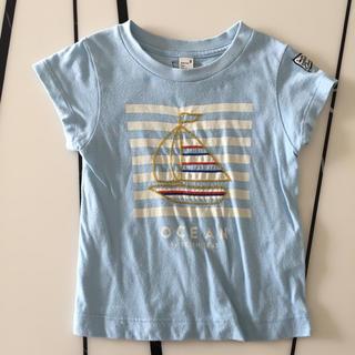 プティマイン(petit main)のアプレレクール 男の子 ブルー ヨット柄半袖Tシャツ 90(Tシャツ/カットソー)