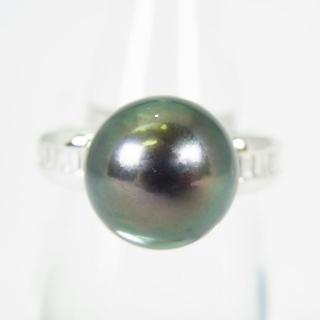 Pt900 南洋黒蝶真珠(ブラックパール)リング 12.5号 [g148-1] (リング(指輪))