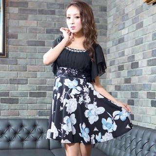 デイジーストア(dazzy store)の♡キャバドレス♡シフォンフレアスリーブ花柄Aラインミニドレス(ミニドレス)