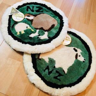 ★未使用★ウール100% アニマル 丸 円 座布団 羊 鳥 サークル クッション(クッション)
