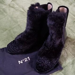 ヌメロヴェントゥーノ(N°21)の値下げ N゜21 ファーショートブーツ 新品(ブーツ)