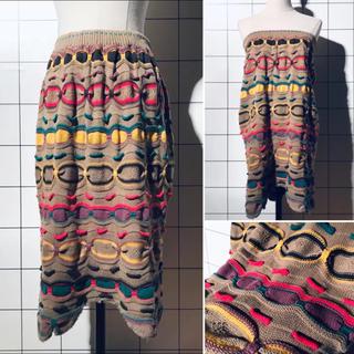 ロキエ(Lochie)のused Vintage 90s マルチボーダー 3D ニットスカート(ひざ丈スカート)