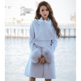 エミリアウィズ(EmiriaWiz)のEmiriaWiz♡新品未使用 スカーフカラーFOXファーコート ブルー(ロングコート)