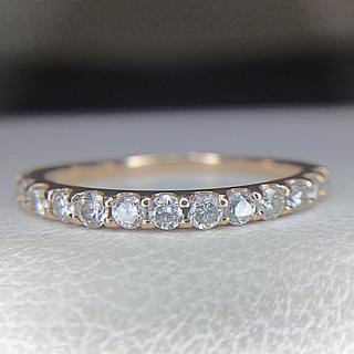 K18ピンクゴールド ハーフエタニティ ダイヤ リング(リング(指輪))