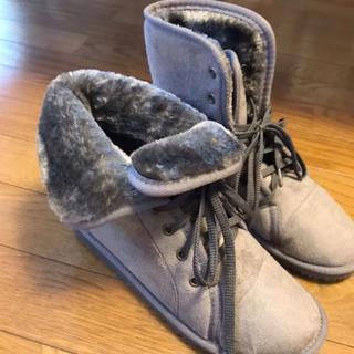 美品☆ふわふわ ムートン風 ショートブーツ Lサイズ グレー モコモコブーツ(ブーツ)