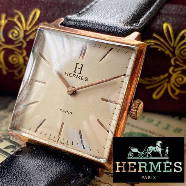 ハリーウィンストン コピー 时计 - Hermes - 【一目惚れ】HERMES PARIS ★ エルメス スクエア 1940年代 美品の通販