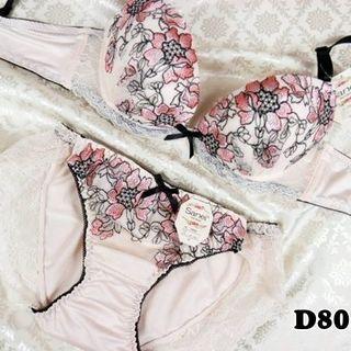 SE12★D80 L★美胸ブラ ショーツ 谷間メイク シャクヤク ピンク(ブラ&ショーツセット)