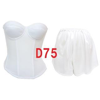 D75・L●白●ブライダルインナー ビスチェ&タップパンツ ≪2点セット≫(ブライダルインナー)