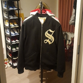 Supreme - Supreme Old English Zip Varsity Jacket L