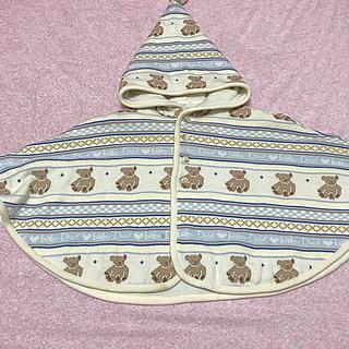 ベビーディオール(baby Dior)のbaby Dior ディオール ポンチョ マント コート 日本製 ブルー(カーディガン/ボレロ)